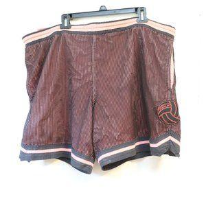 Speedo Mens Vintage Mesh Lined Red Black Trunks